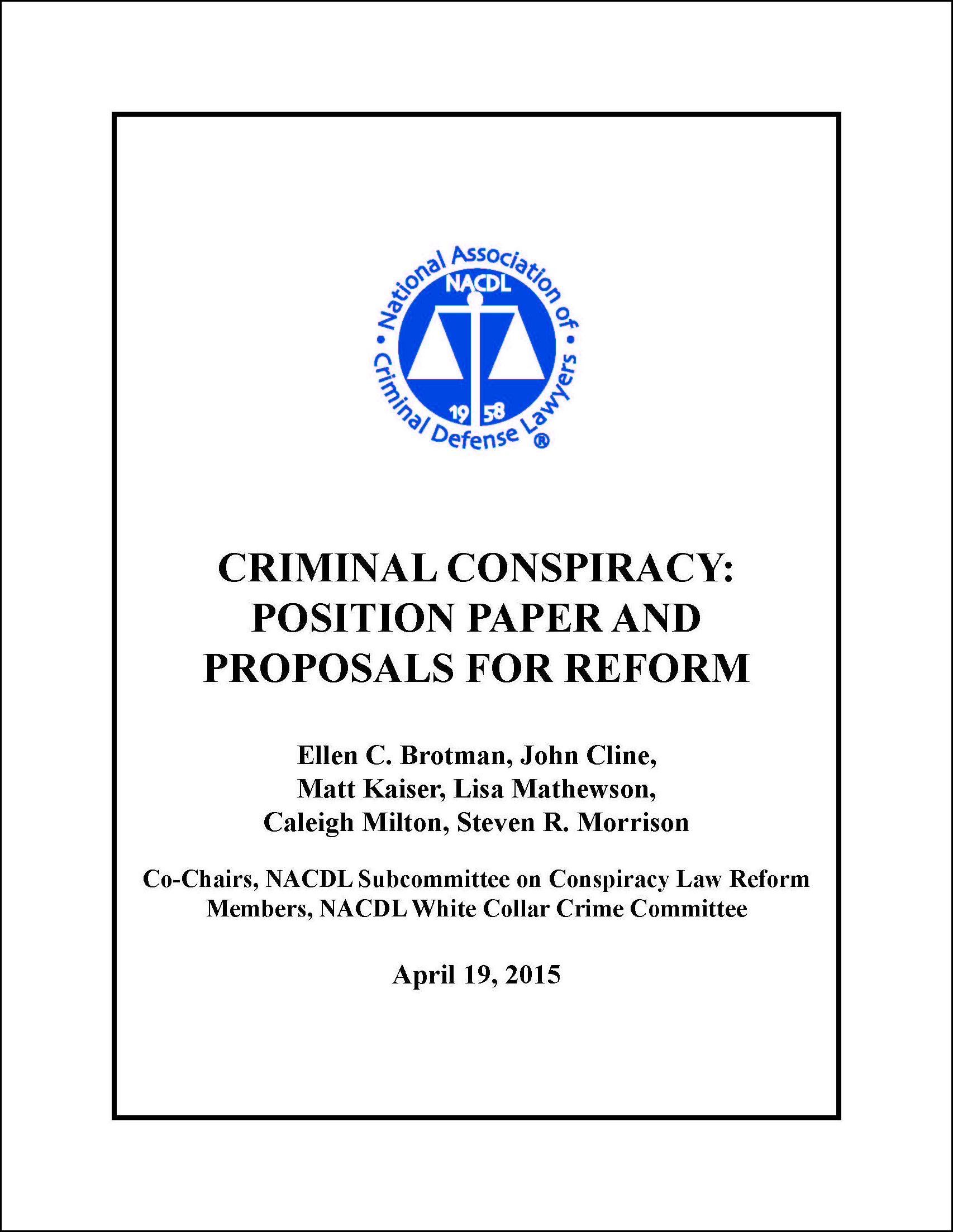 Criminal Conspiracy: Position Paper and Proposals for Reform Cover
