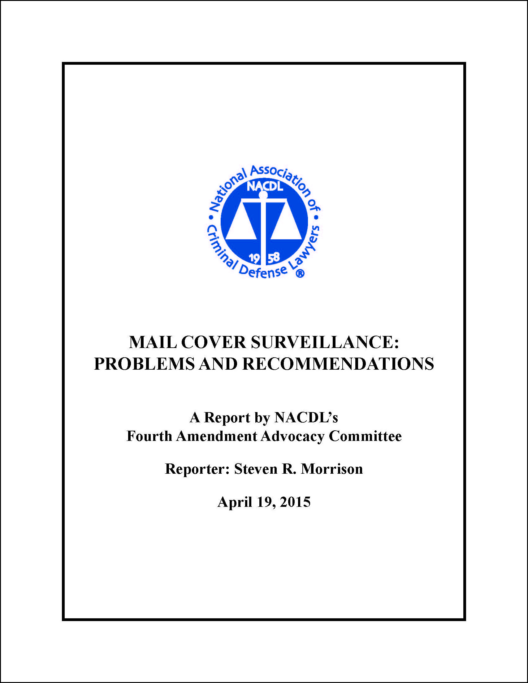 Mail Cover Surveillance: Problems and Recommendations Cover